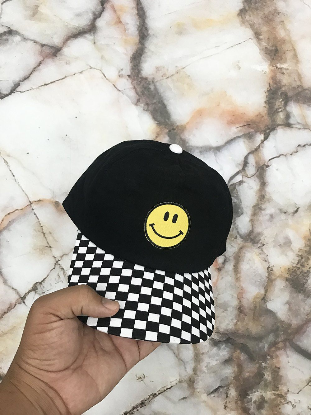 Smiley Face Embroided Chckered Strapback Cap