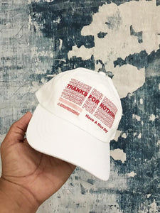 Thanks For Nothing White Strapback Hat