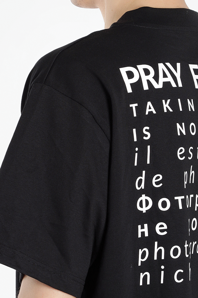 PRAY FOR US Man's Black PHOTO Tee  Black Round Neck Short Sleeves Front LOGO Detail Back PHOTO Print 100% Cotton Made In Italy