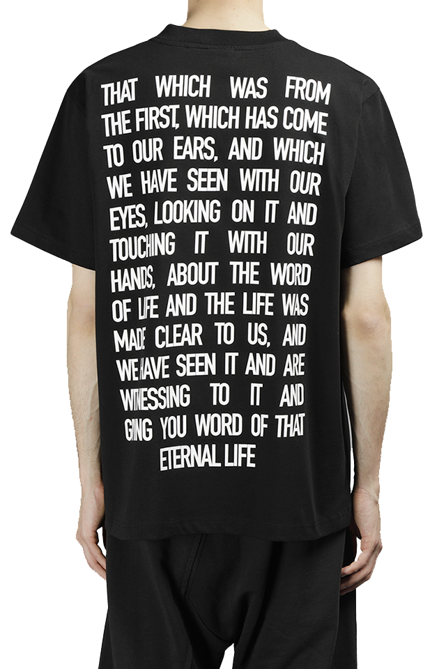 PRAY FOR US Man's Black ETERNAL Tee  Black Round Neck Short Sleeves Back ETERNAL Print 100% Cotton Made In Italy