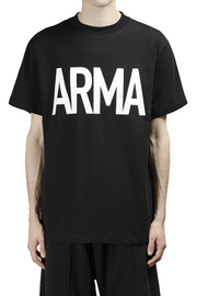 PRAY FOR US Man's Black ARMA Tee  Black Round Neck Short Sleeves Front ARMA Print Back Logo Detail 100% Cotton Made In Italy