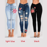 Flower Embroidered Ripped Jeans for Women Sexy Casual Big Stretch Skinny Jeans Denim Pants (PLUS SIZE:S-3XL) - ShopFor5