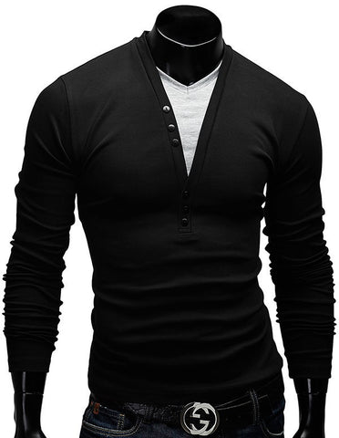 Men's T Shirts Long Sleeve 2015 Spring Autumn New Fashion Button Design Casual Slim Fit V-neck Tees  Men's Clothing 5 Colors - ShopFor5