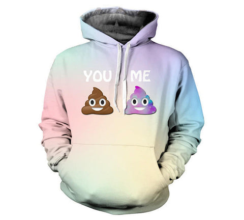 2016 New Harajuku Women/Men Hoodies Cute Emoji Print Pullover with Pocket Casual Long Sleeve Loose Sweatshirts Couples Tracksuit - ShopFor5