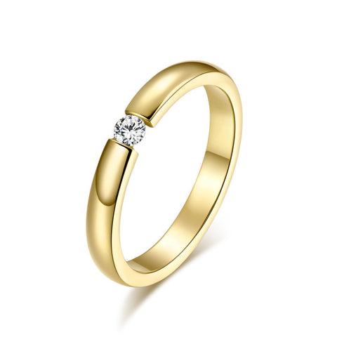 Fashion Simple Cute Jewelry Ladies Finger Ring 3MM Superfine Single CZ Diamond Ring for Christmas Gift - ShopFor5