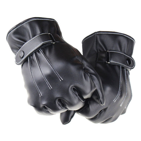 Hot Selling Mens PU Leather Winter Super Driving Warm Gloves Cashmere Tactical Gloves Wholesale&Retail - ShopFor5