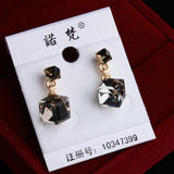 Wholesale& Retail Earings Fashion Jewelry High Quality Double Square Crystal18K Gold Plated Woman  Earring - ShopFor5