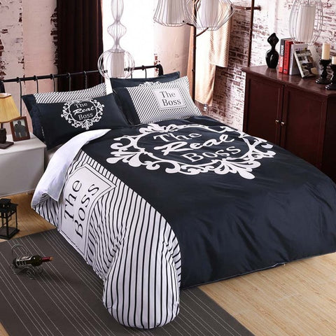 Brand Bedding Set Duvet Cover Set for Couples Plain Letter Print Pattern Bed Linens Sheet Pillow Cover 4PCS Queen King Size - ShopFor5