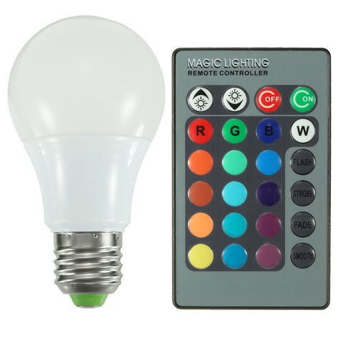 E27 RGB LED Light Bulb 3W 5W 10W  Color Changing With 24 Keys Remote Control