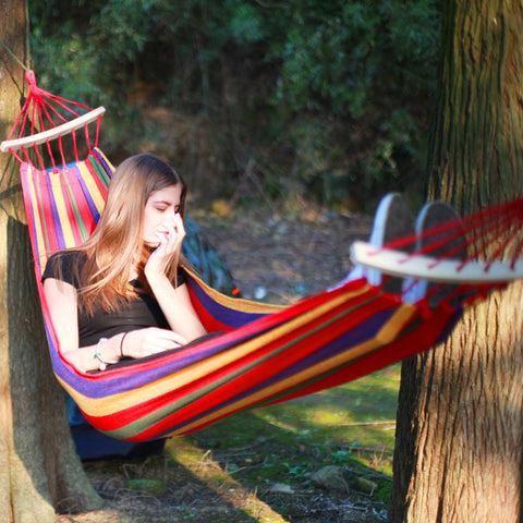 Portable Canvas Parachute Outdoor Single Hammock - ShopFor5