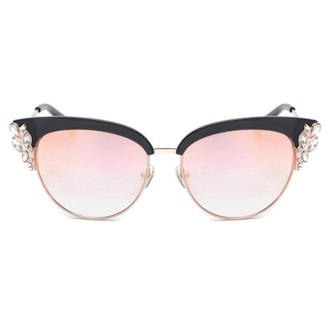 ROYAL GIRL Exaggeration Cat Eye Sunglasses Women Brand Designer Half Frame Diamante Sun Glasses Summer Style oculos de sol SS224 - ShopFor5