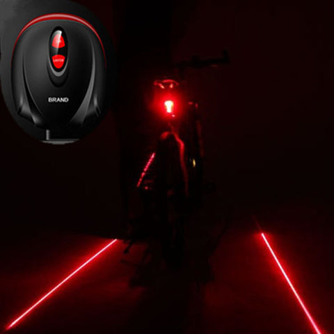 Bike Light  2 Laser Projector Red Lamps Beam and 3 LED Rear Tail Lights Bicycle Accessories - ShopFor5