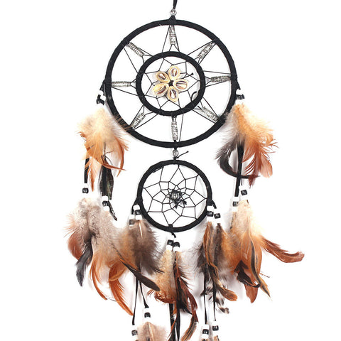 Dream Catcher Circular White Feathers Wall Hanging Decoration Decor Craft - ShopFor5