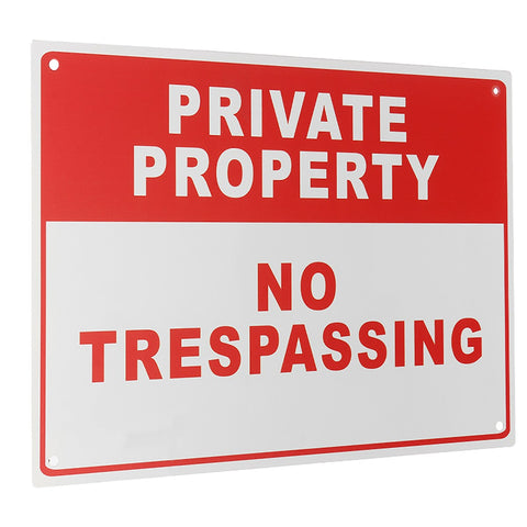 NEW Safurance Private Property No Trespassing Metal Safety Warning Sign 4 Drilled Hole 20x30cm Home Security - ShopFor5