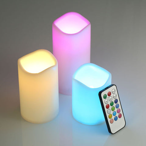 Romantic Flameless LED Candles Colorful Flashing Bougies With RGB Remote Control For Wedding Home Decor Changing Colors Candeles - ShopFor5