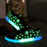 Merkmak Luminous LED Men's Shoes Unisex Cool USB Rechargeable Casual Flats Punk Skull Led Shoes For Adults Fashion Fuorescence - ShopFor5