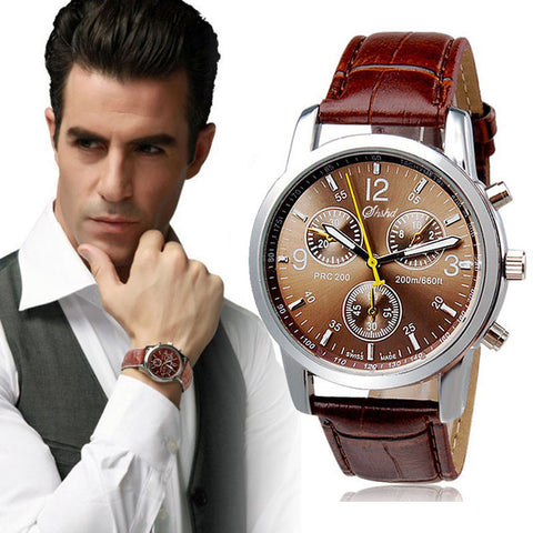 New Luxury Fashion Crocodile Faux Leather Mens Analog Watch Watches - ShopFor5