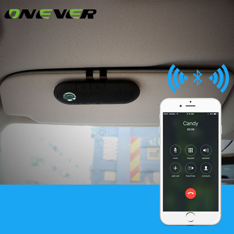 Onever Universal Car Bluetooth Speakerphone Handsfree Car Kit Sunvisor Clip Bluetooth Speaker Player usb Car Charger for iphone - ShopFor5