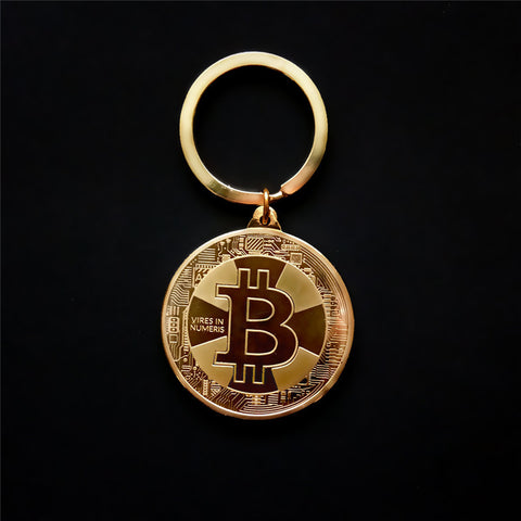 Hot Sell New Arrival Gold Silver Color Alloy Bitcoin keychain For Women Man Car Bag keyring Jewelry Gift - ShopFor5