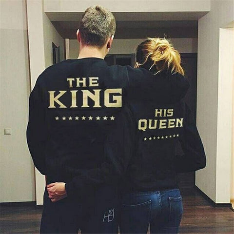 New Fall THE KING HIS QUEEN  Letter Print Sweatshirts Men/Women