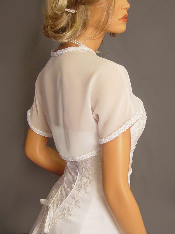 Audrey in Chiffon with trim and short sleeves