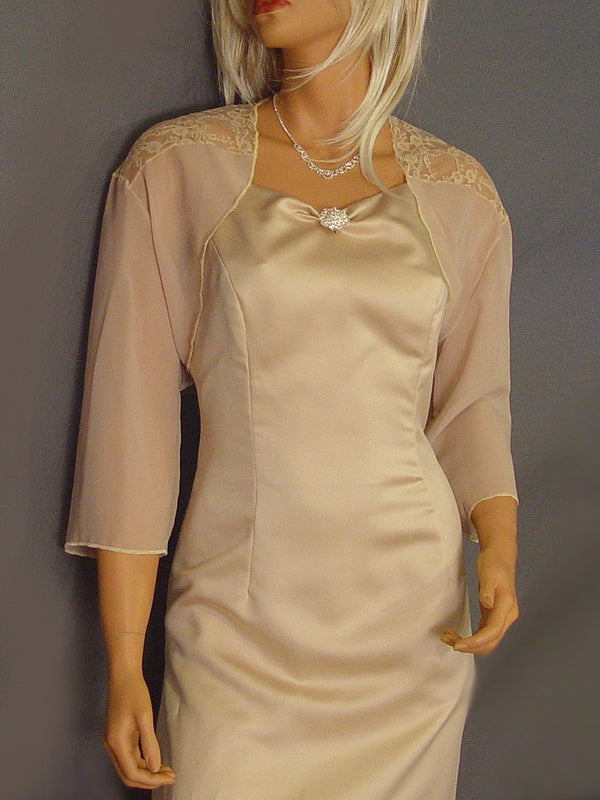 Audrey in Chiffon with 3/4 sleeves and lace shoulders