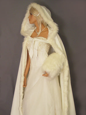 Grace in Satin with fur trim (full length)