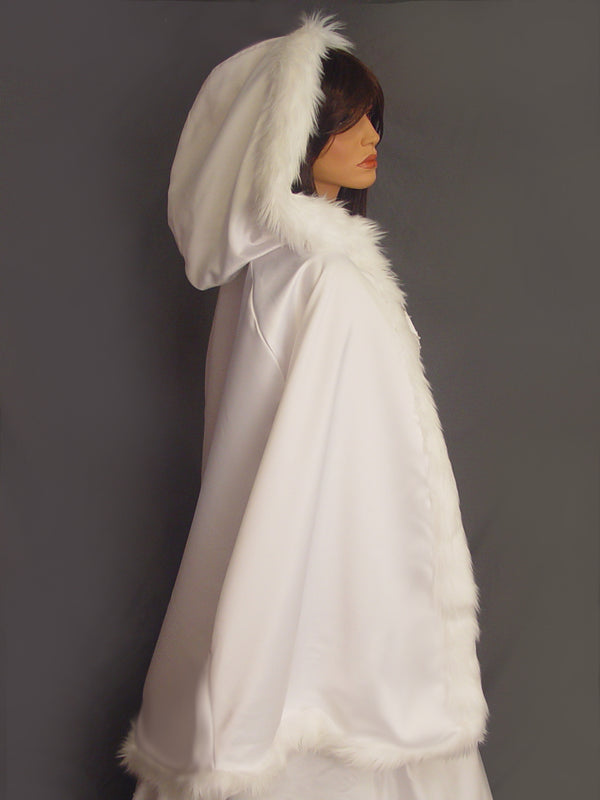 Grace in Satin with fur trim (mid length)