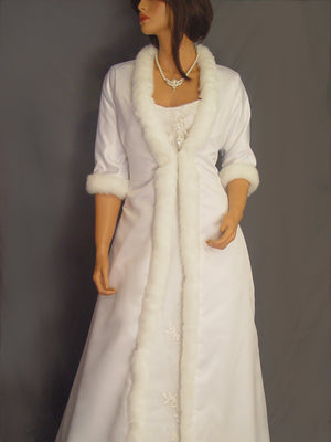 Marlene in Satin with fur trim (full length)
