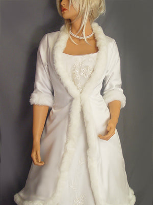 Marlene in Satin with fur trim (mid length)