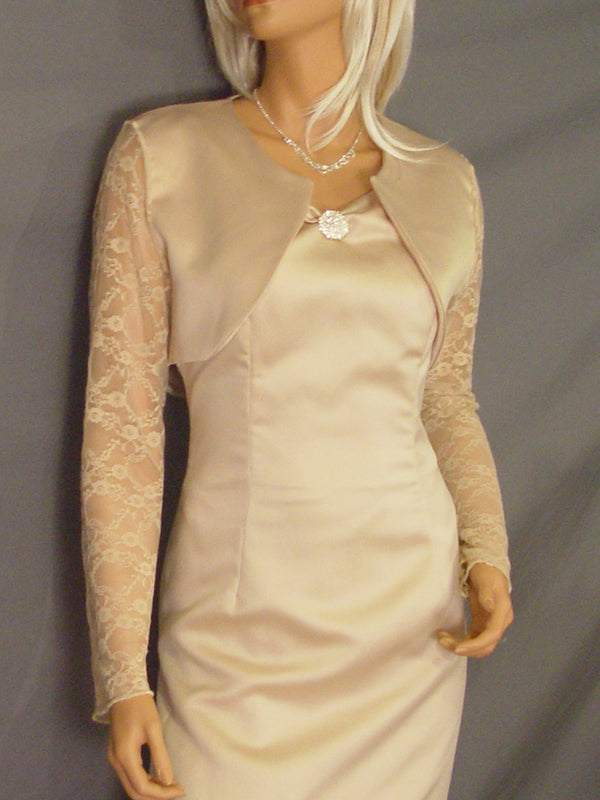 Ava in Satin with long Lace sleeves