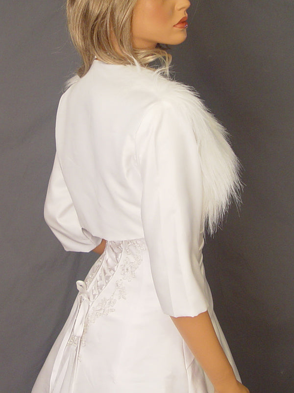 Audrey in Satin with fur front and 3/4 sleeves