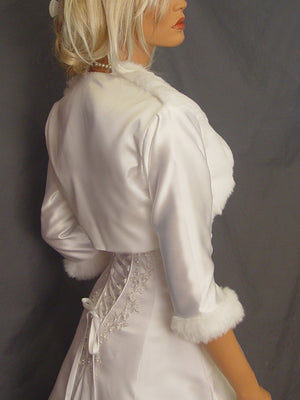 Audrey in Satin with Mink front and 3/4 fur trimmed sleeves