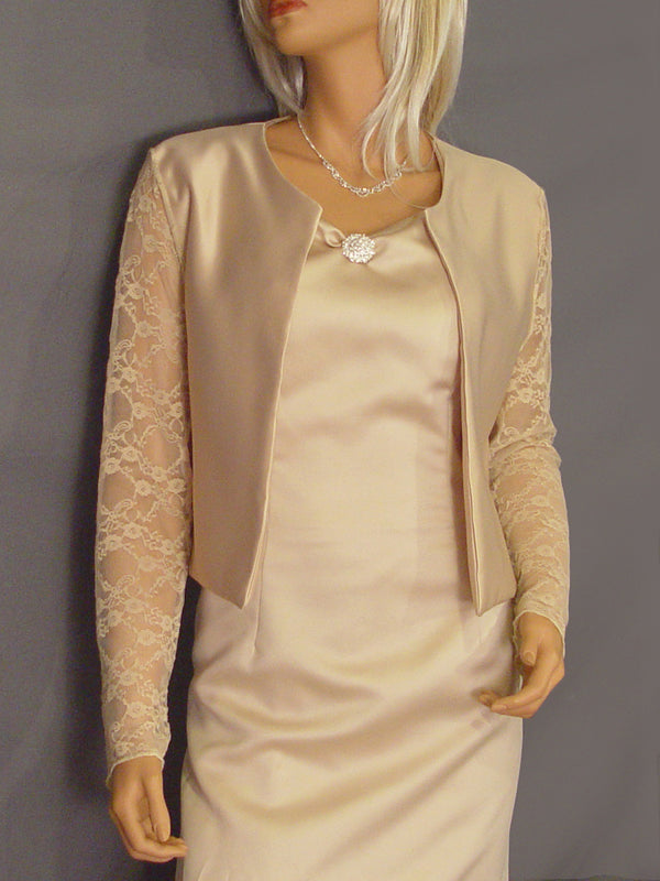 Lauren Satin jacket with long Lace sleeves