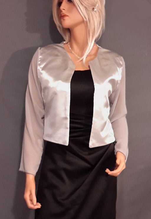 Lauren Satin jacket with long Chiffon sleeves