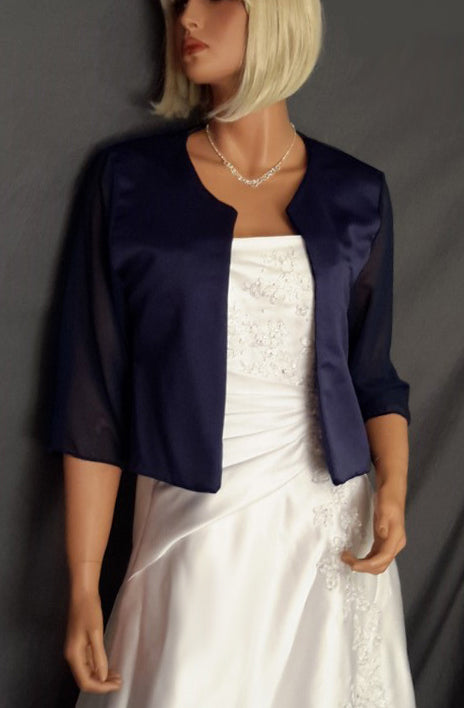 Lauren Satin jacket with 3/4 Chiffon sleeves