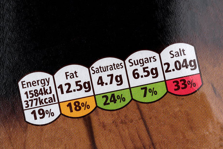 Food labels show how much salt an item contains