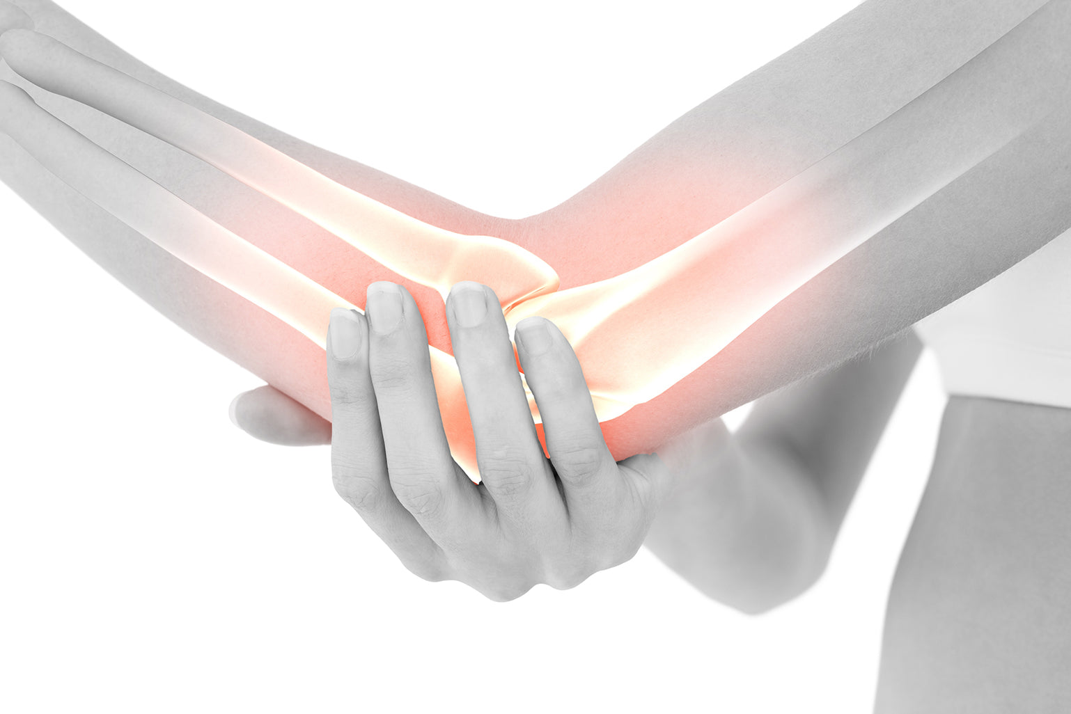 Image of a person holding their elbow joint