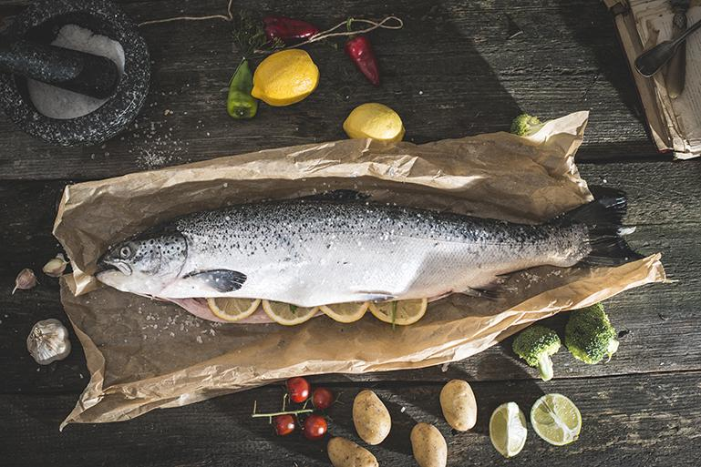 Image of a prepared fish on a kitchen counter