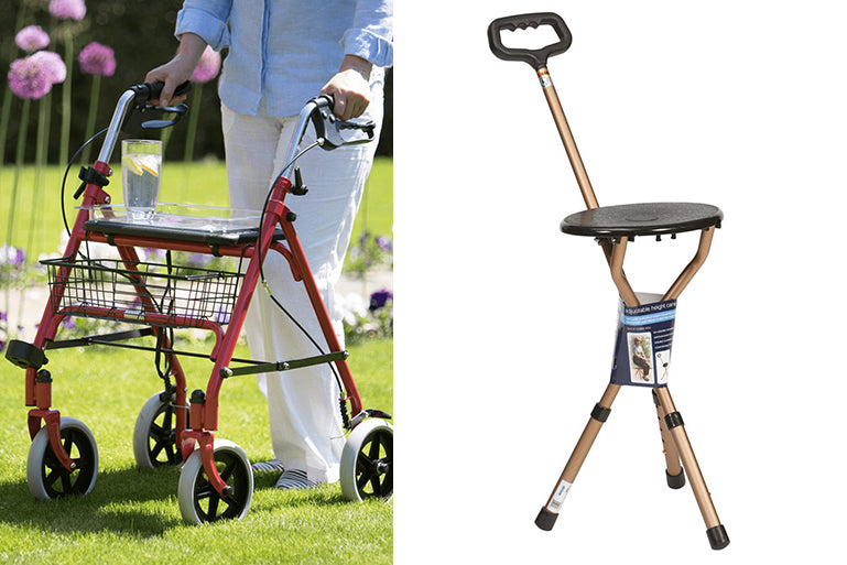 Middletons rollator with built in seat and cane walking stick