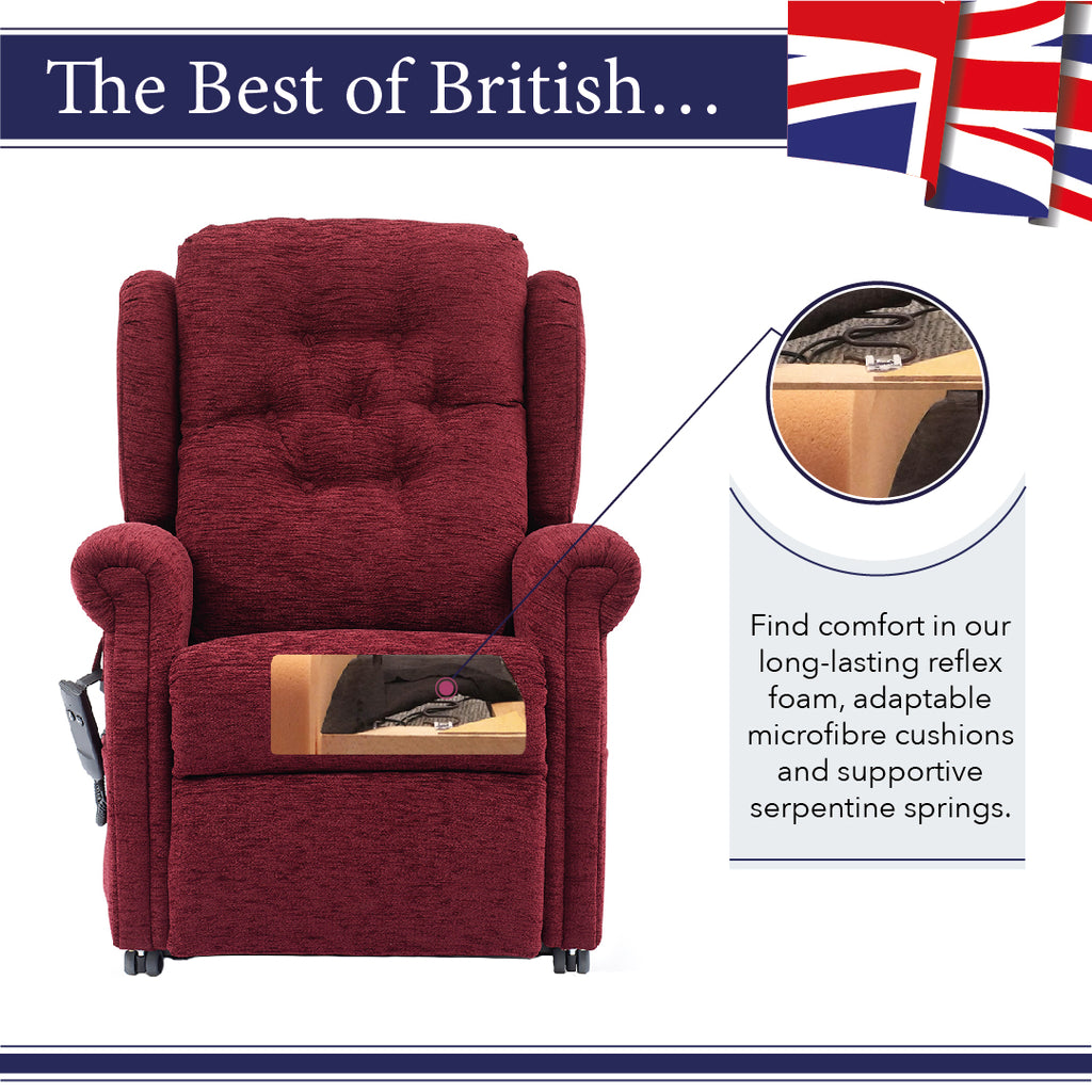 We use microfibre cushions, memory foam, reflex foam and serpentine springs in middletons rise and recline chairs