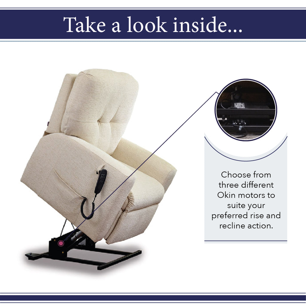 Choose from three different motors to get your perfect rise and recline action for your middletons rise and recline chair