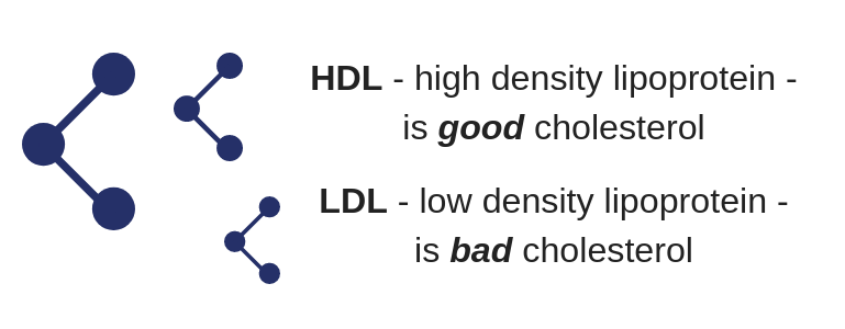 Image illustrating that HDL is the good type of cholesterol and LDL is the bad type