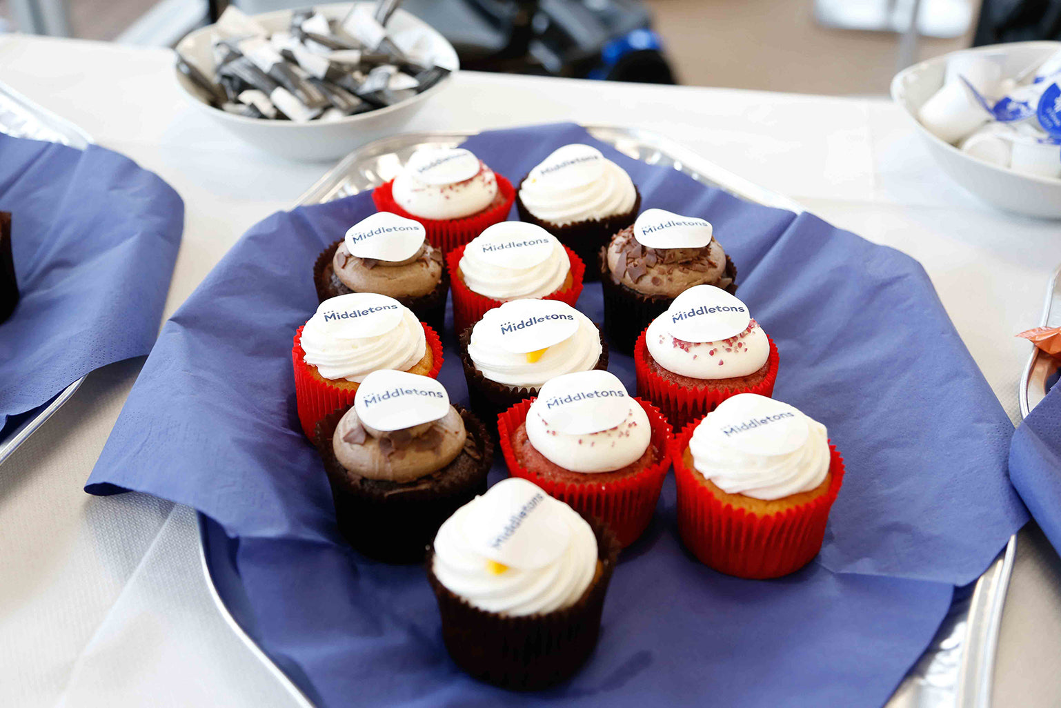 Cupcakes with the Middletons logo
