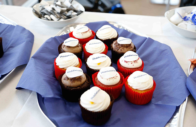 Image of cakes with Middletons logo