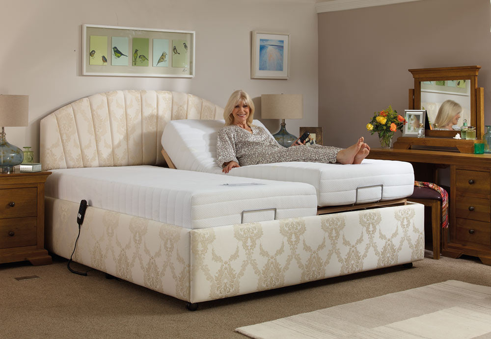 Woman enjoying an adjustable bed