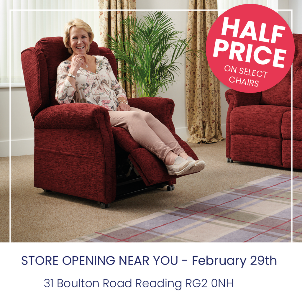Half Price off select middletons rise and recline chairs at the reading store opening