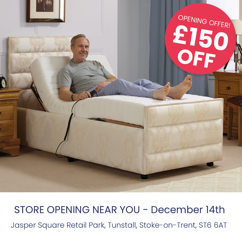 Get £150 off all luxury divan adjustable beds at the new Stoke-on-Trent store opening.