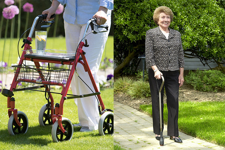 Image showing a Middletons four wheel rollator and a woman using a walking cane