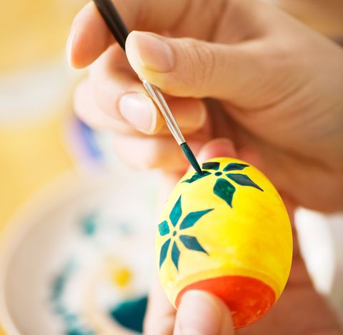Painting and decorating Easter eggshells for your easter egg hunt.